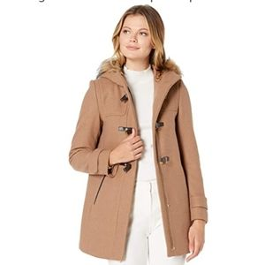 COLE HAAN Signature Hooded Duffle Camel Peacoat